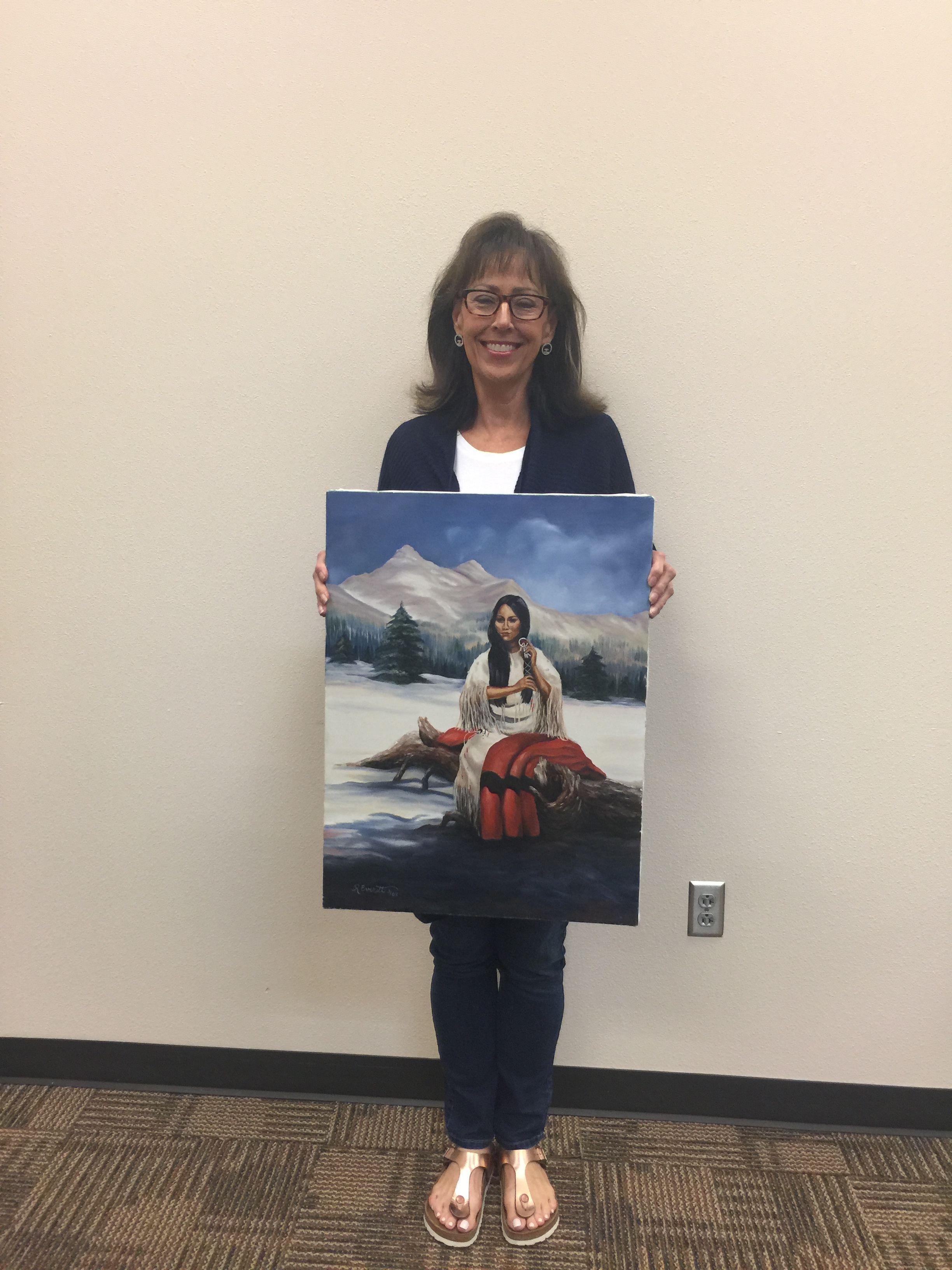 "May 2019 MAA Artist of the Month, First Place is Rosemary Everett, Oil, ""Dreaming"". Displayed at Pinnacle Bank 1700 East Broad St. Mansfield"