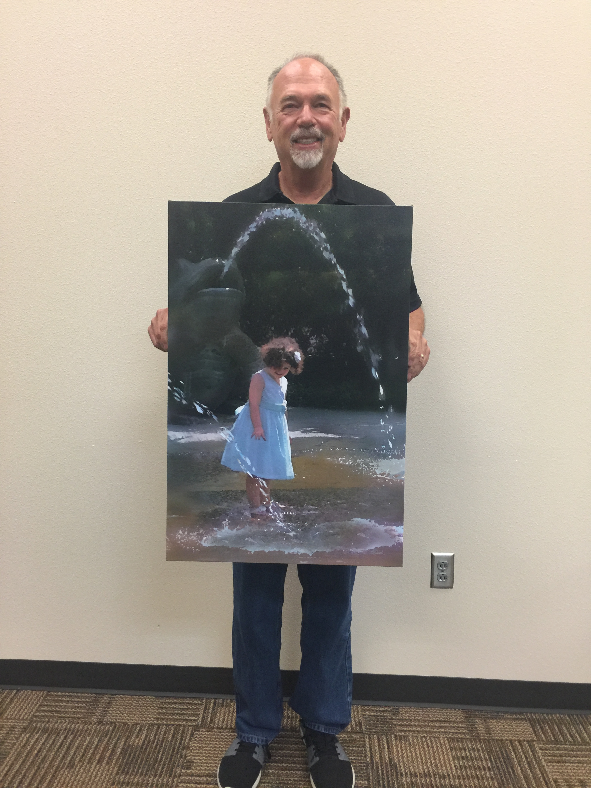 "MAA Artist of the Month, Second Place,  Bill Quick , Digital Art, ""Girl in the Fountain"". Displayed at Plains Capitol Bank 1748 East Broad St. Mansfield"