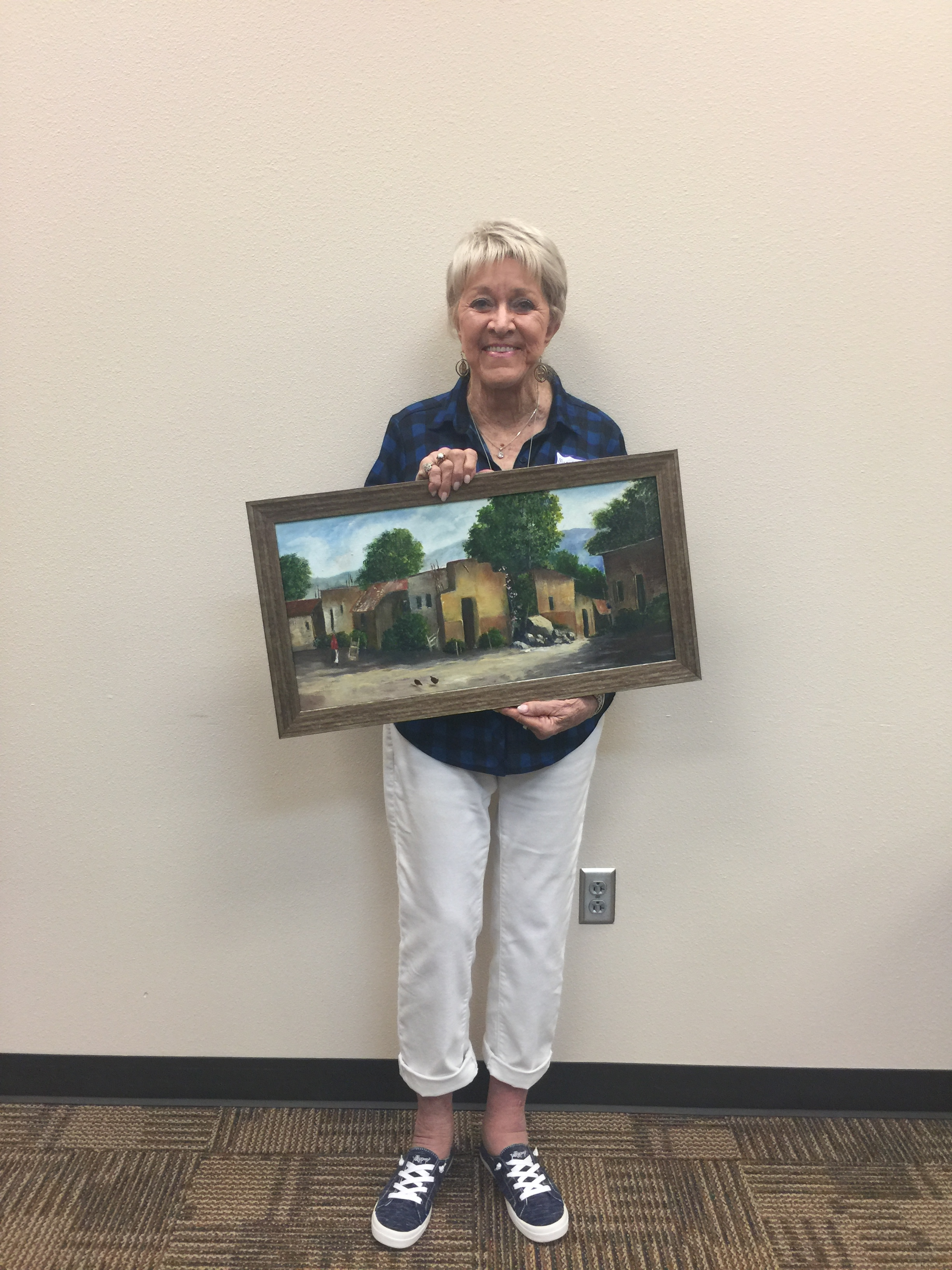 "MAA Artist of the Month, Third Place,  Mary Norris Johnson,  Oil, ""Adobe Village"". Displayed at Hilltop Bicycle Center 130 North Main St. Mansfield."