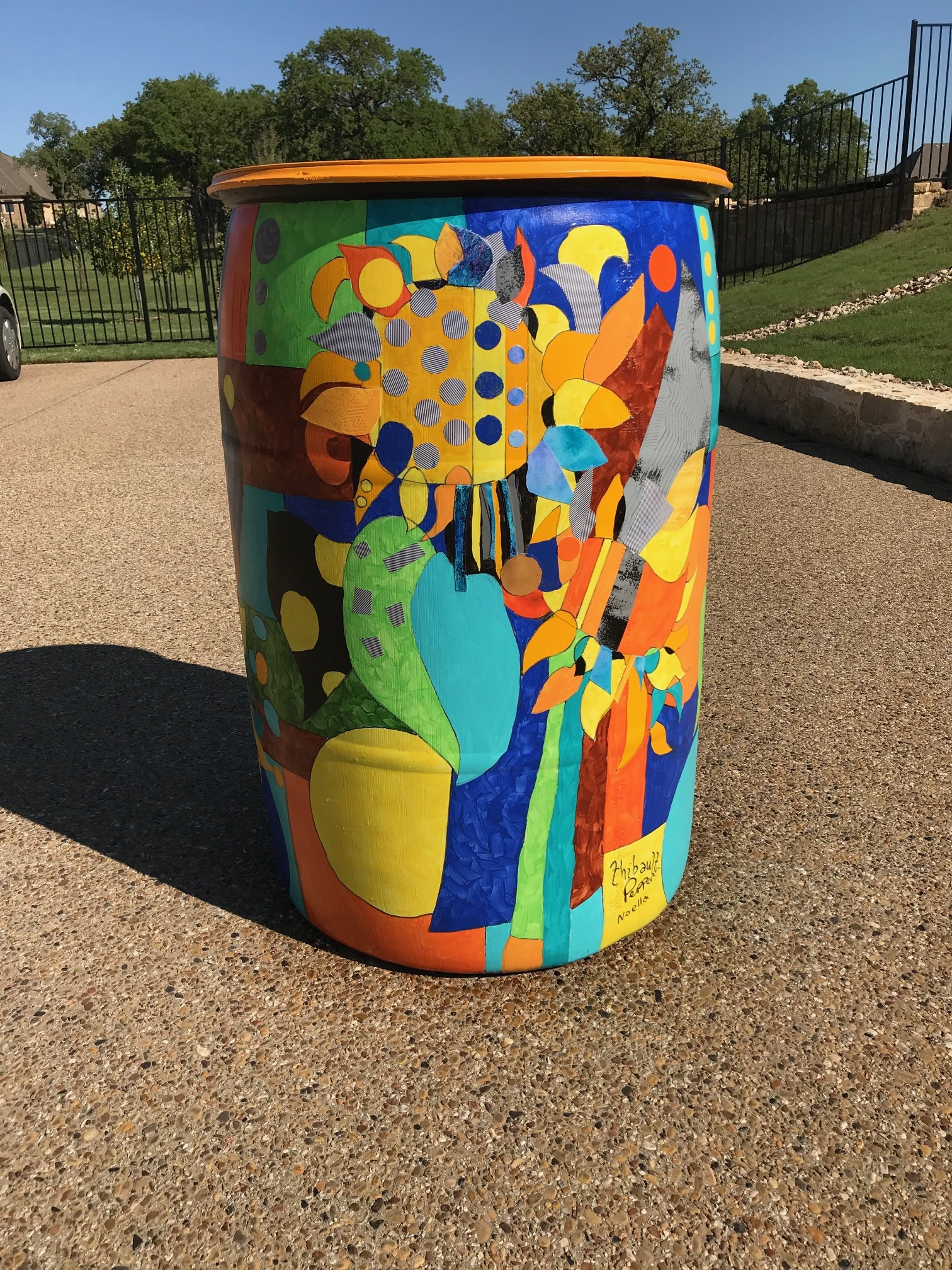This is the finished barrel painted by Pepper Crary and Deanna Thibault for the Earth Day Project.