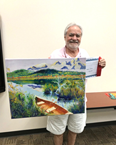 """Second Place:  Gerard Bahon, GBahon@hotmail.com  """"The Canoe"""", Oil on Canvas, $375,  Displayed at Plains Capitol Bank, 1748 E Broad St Ste 102, Mansfield, TX 76063"""