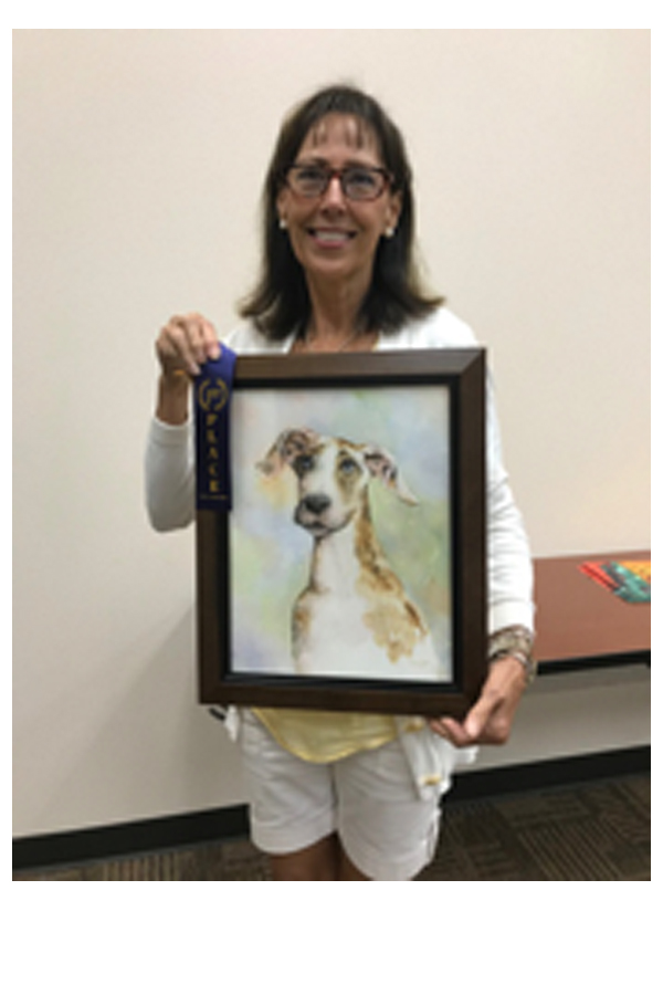 """First Place:  Rosemary Kline Everett, rosemaryeverett@hotmail.com  """"Puppies Baby Blues"""", Watercolor, $300  Displayed at Pinnacle Bank, 1700 E Broad St, Mansfield, TX 76063"""