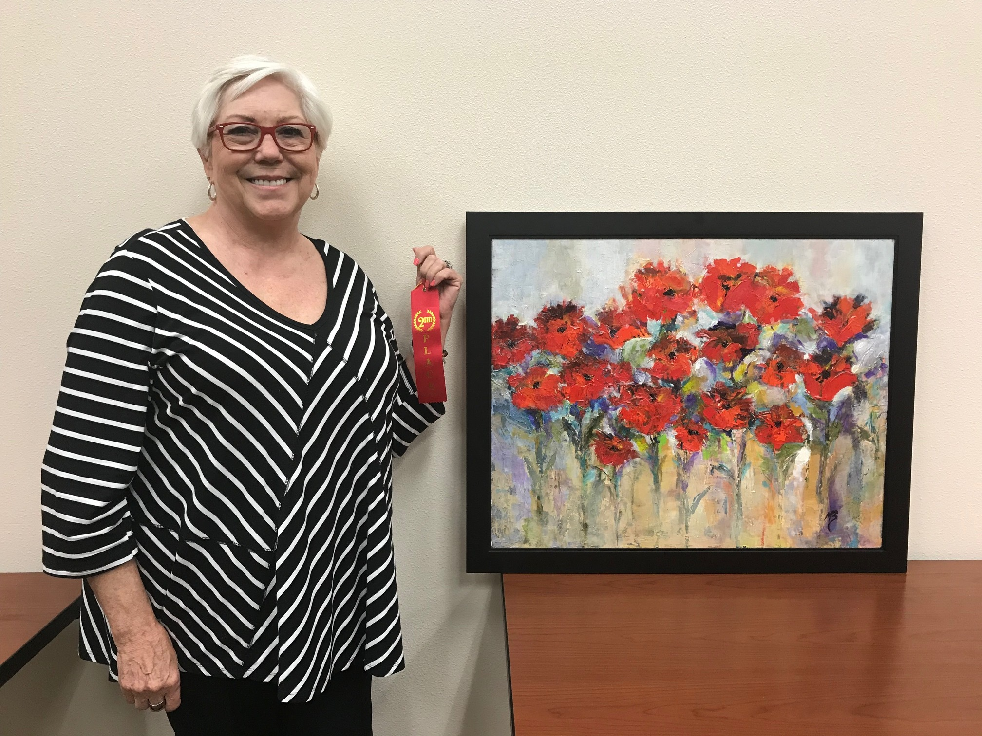 "Second Place: Martha Barron    ""Morning Beauties""    Acrylic    $325    817-320-0100    Displayed at Plains Capitol Bank, 1748 E Broad St Ste 102, Mansfield, TX 76063"