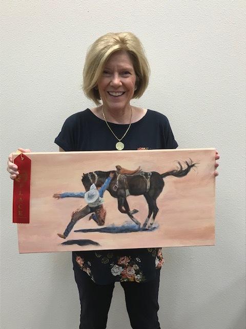 "Second Place:  Linda Roman, LRoman5052@yahoo.com  ""Rough Landing"", acrylic on canvas, $300  Displayed at Plains Capitol Bank, 1748 E Broad St Ste 102, Mansfield, TX 76063"