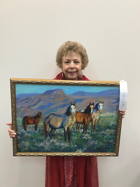 """Third Place : Marta Gore, 817-874-7703  """"Mustangs"""" , Oil , $999  Displayed at Hilltop Bicycle Center, 130 N Main St, Mansfield, TX 76063"""