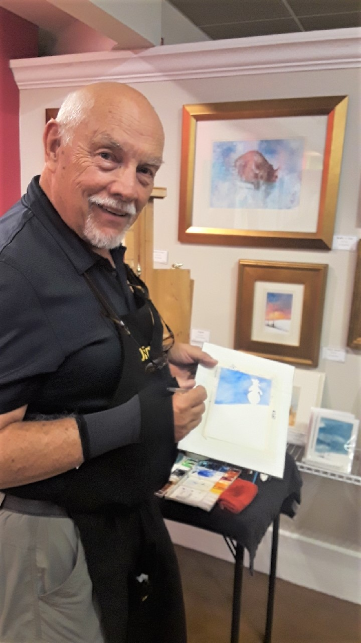 Jim Gensheer, water color artist, did a live painting during the event.
