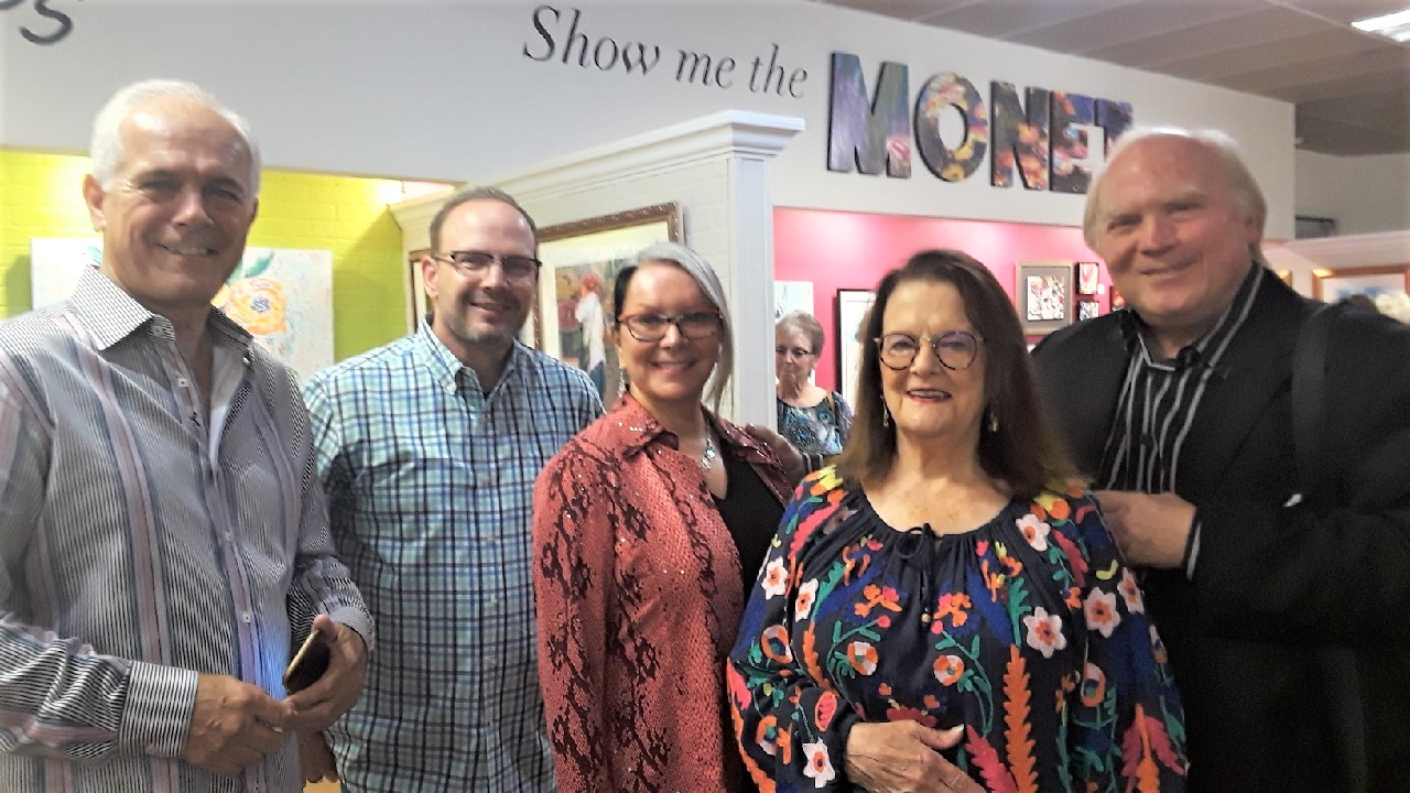 Everybody had a great time and enjoyed the art and camaraderie with the artists. Three artists, Pepper Crary, Sandra Grimland and Bruce Tinch (right) spend time with Scott Oldenburg and Gary Crary (left).