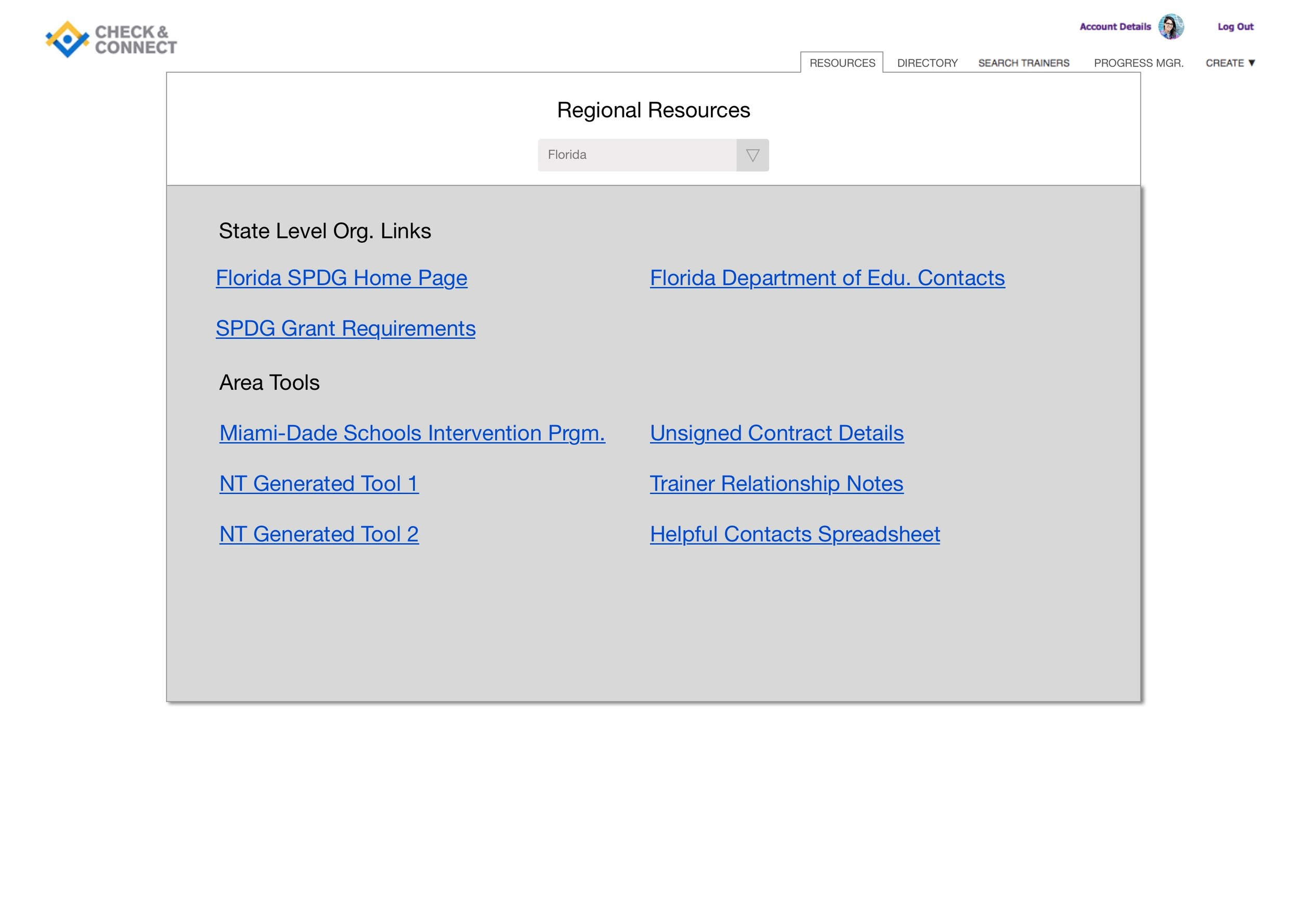 Regional Resources Page for National Trainers