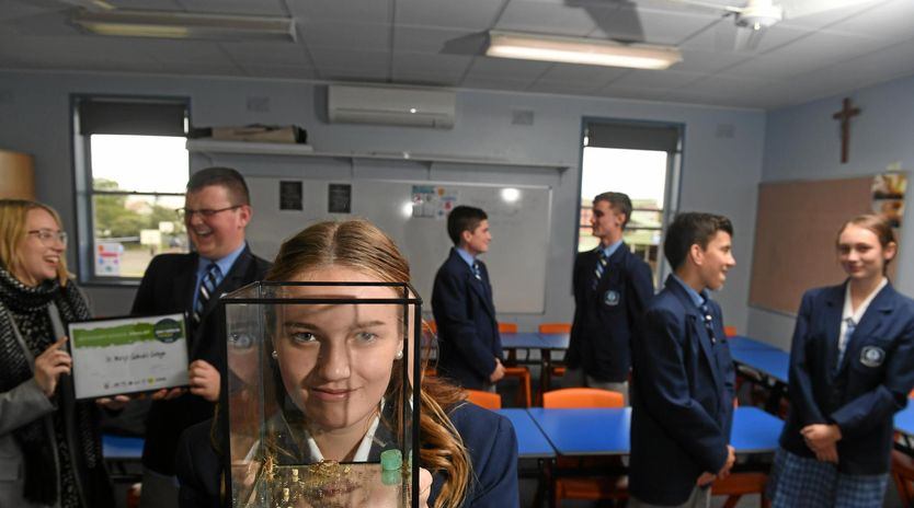 St Mary's Catholic College year 10 student Kayla Jones with fellow students and teacher Jackson Whitney, Bonny RIddle, Ryan Clark, Ky Crethar, Michael Zervos, Sophie Flatley were awarded the finalist position in the Green Innovation Awards with their idea to use cricket flower to feed the masses. Marc Stapelberg