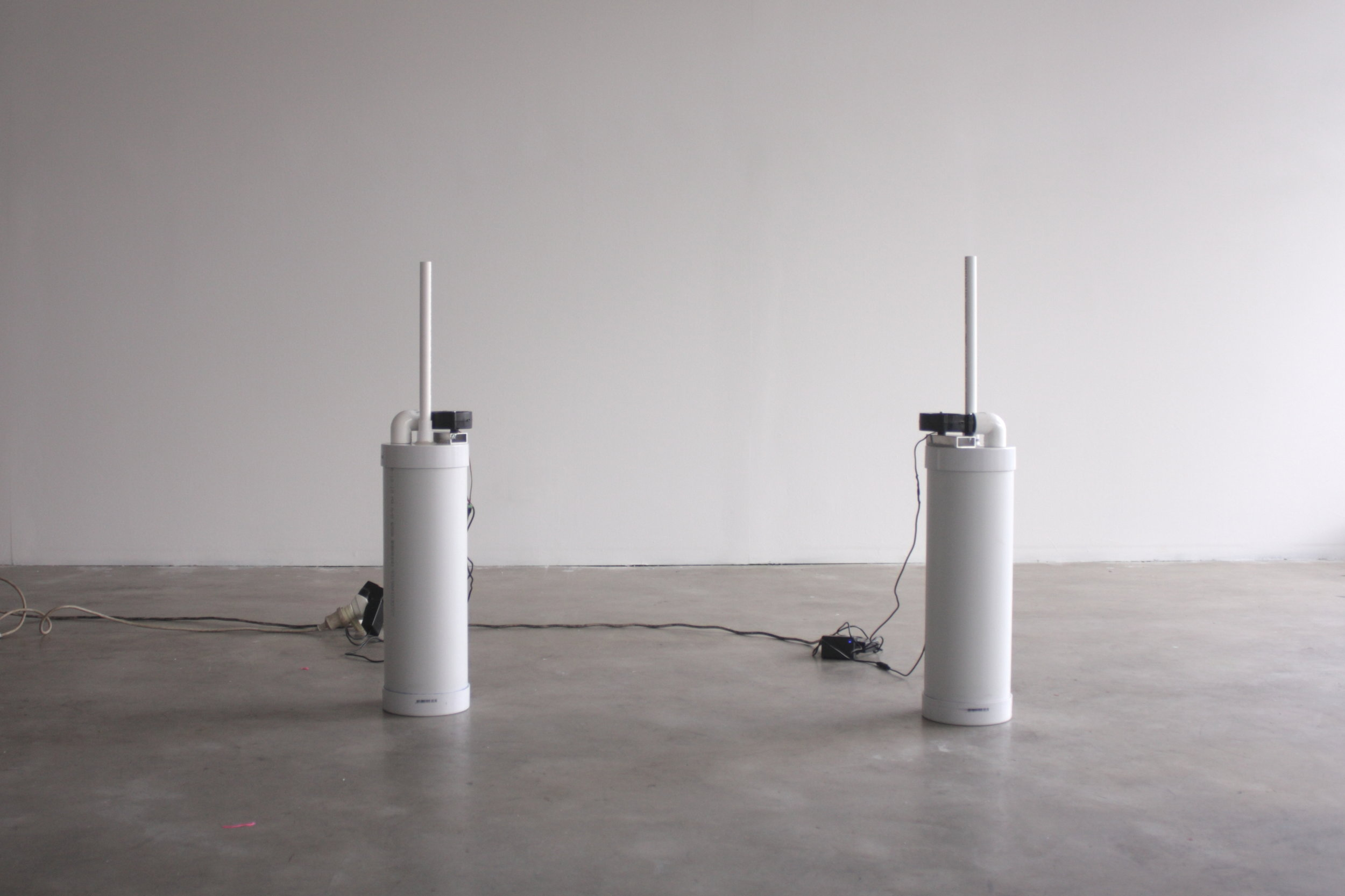 Fountain , 2019, PVC pipe, electrical components, water, melatonin, botanical oils, mist, dimensions variable