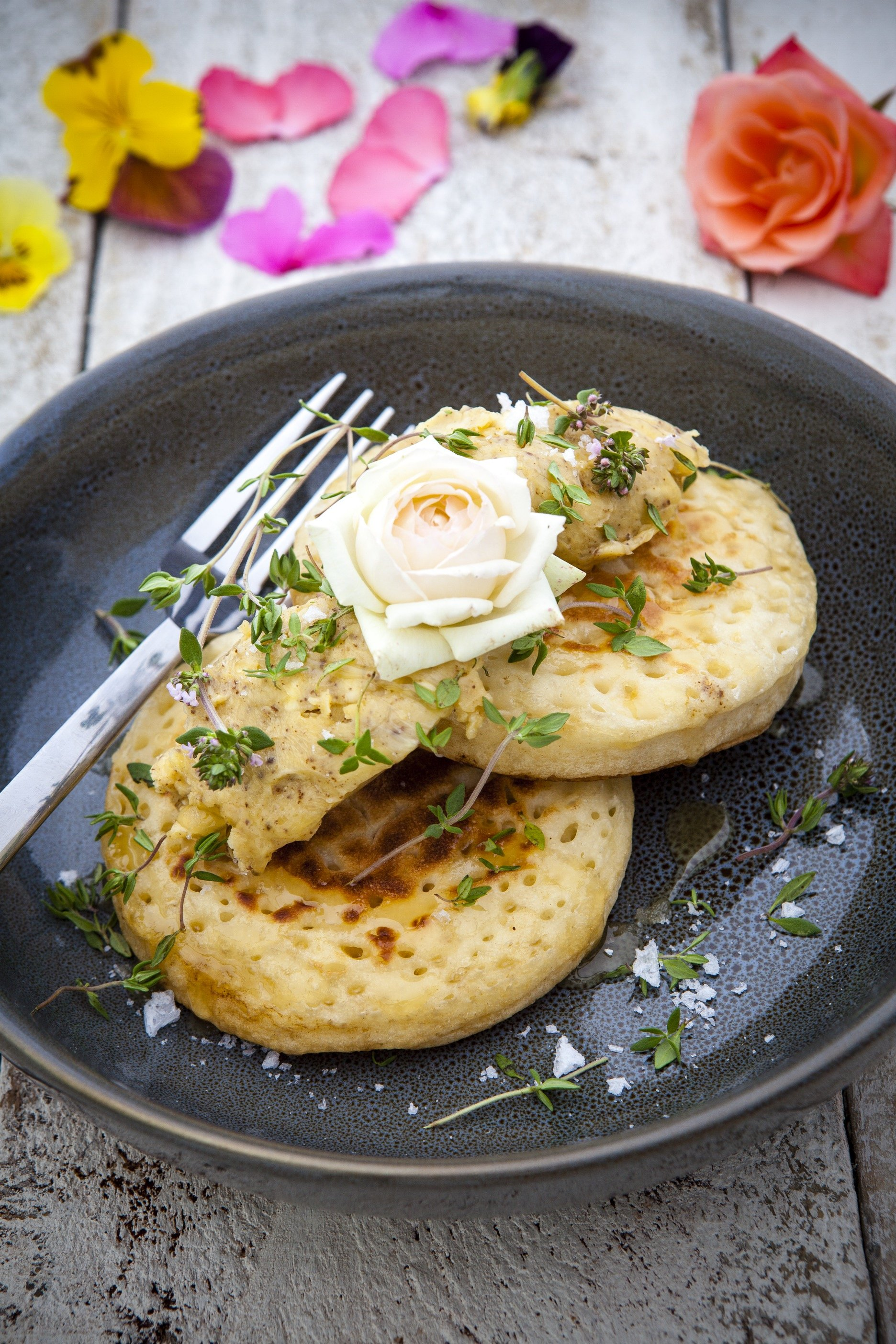 Brown Butter Crumpets with Otago Honey and Thyme