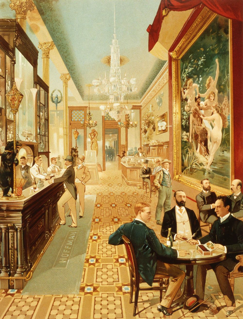 The Grand Saloon in the Hoffman House Hotel, a fine example of the grand hotel bars that were home to the Manhattan cocktail. On Broadway between 24th and 25th Streets.
