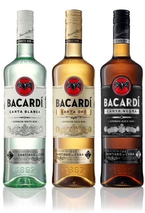 Three of Bacardi's rums: light, amber & dark.
