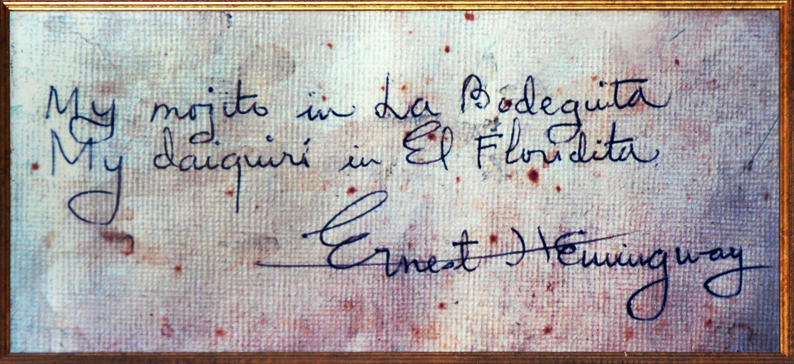 Hemingway's graffito in La Bodeguita del Medio