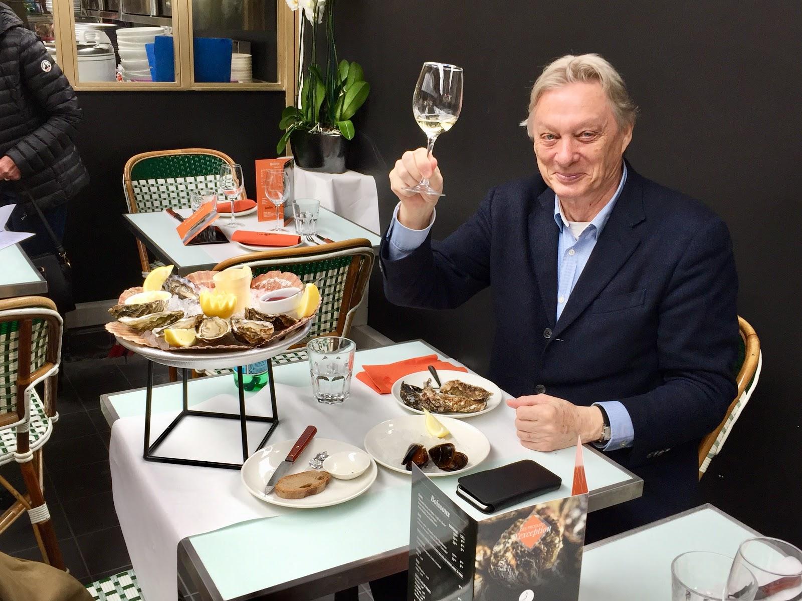 A contented diner in Le Café de Turin