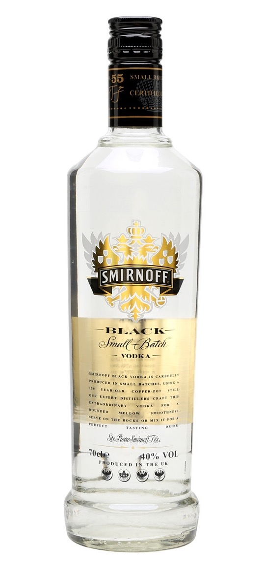 Smirnoff Black is a special vodka made in copper pot stills, distilled from Russian grains, and filtered through silver birch charcoal.