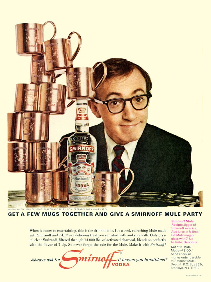 """Woody Allen endorsing the Smirnoff Moscow Mule, with the """"Breathless"""" line."""