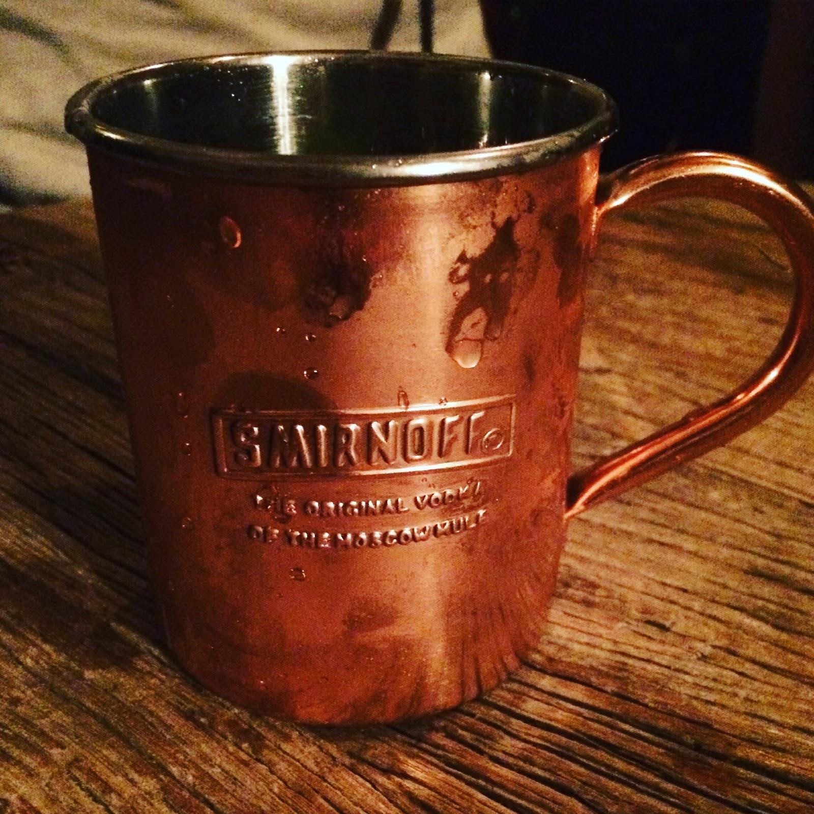 An original Smirnoff Mule mug made with Schmidt's copper