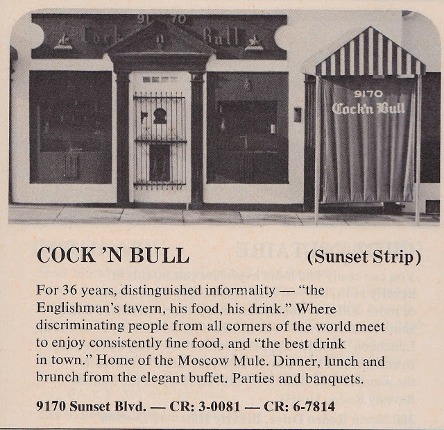 The Cock 'n Bull tavern on Sunset Strip, closed down in 1987