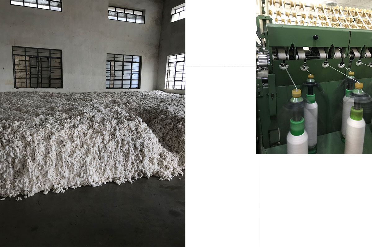 Left: Cotton in the ginning unit where it will be cleaned of any impurities such as jute, plastic twine and animal hair. Right: Spinning unit; Spinning is the process of the conversion of cotton fibre into yarn.