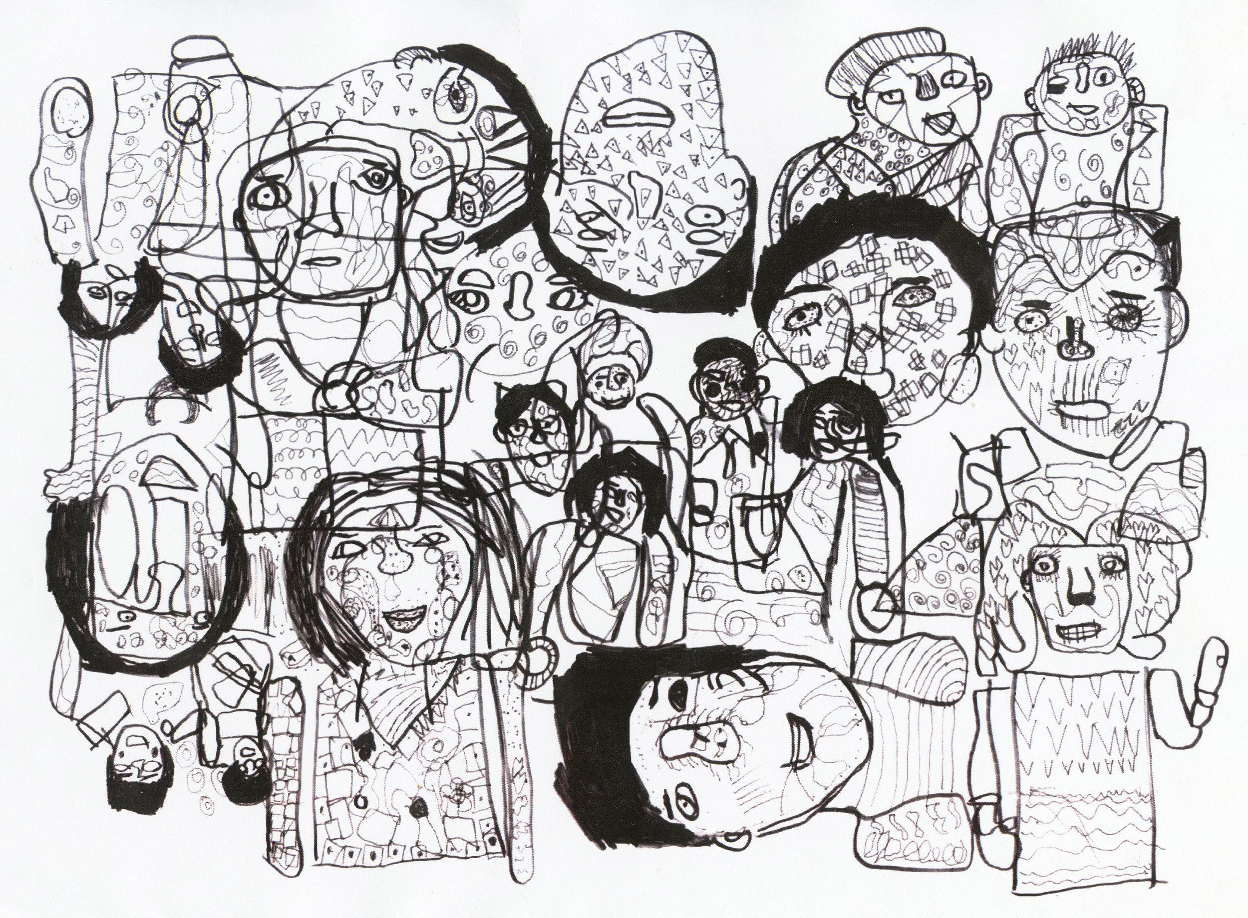 Image: 'Coronation Street Weddings' ink on paper by Amy Ellison, 2018.
