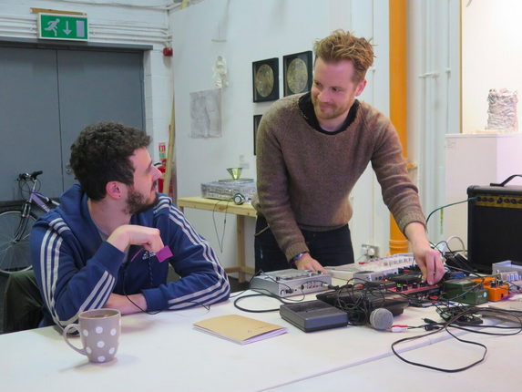 Skills sharing with sounds with the other artists. Photo by James Pollitt