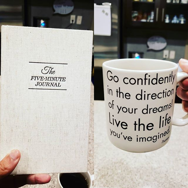 Morning gratitude journal and a Thoreau mug. #morningroutine