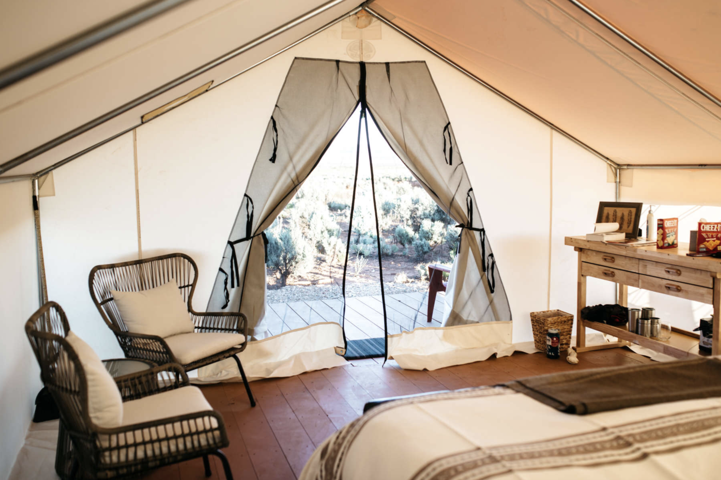 The Josey Wales Tent - Fall into a King size bed and wake to a southwest view facing the Chocolate Cliffs. Start the day in shade and end it in sun, all the while just 65 yards from washrooms.