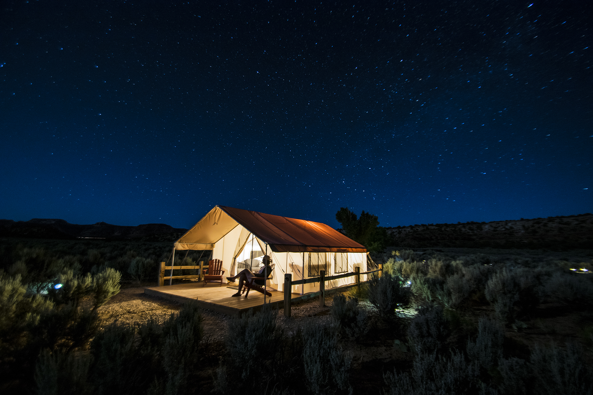 The Hayduke Tent - Fall into a King size bed and wake to a southwest view facing the Chocolate Cliffs. Start the day in shade and end it in sun, all the while just 65 yards from washrooms. Fun, funky and full of character, the Hayduke is ready to roll out the hospitality.