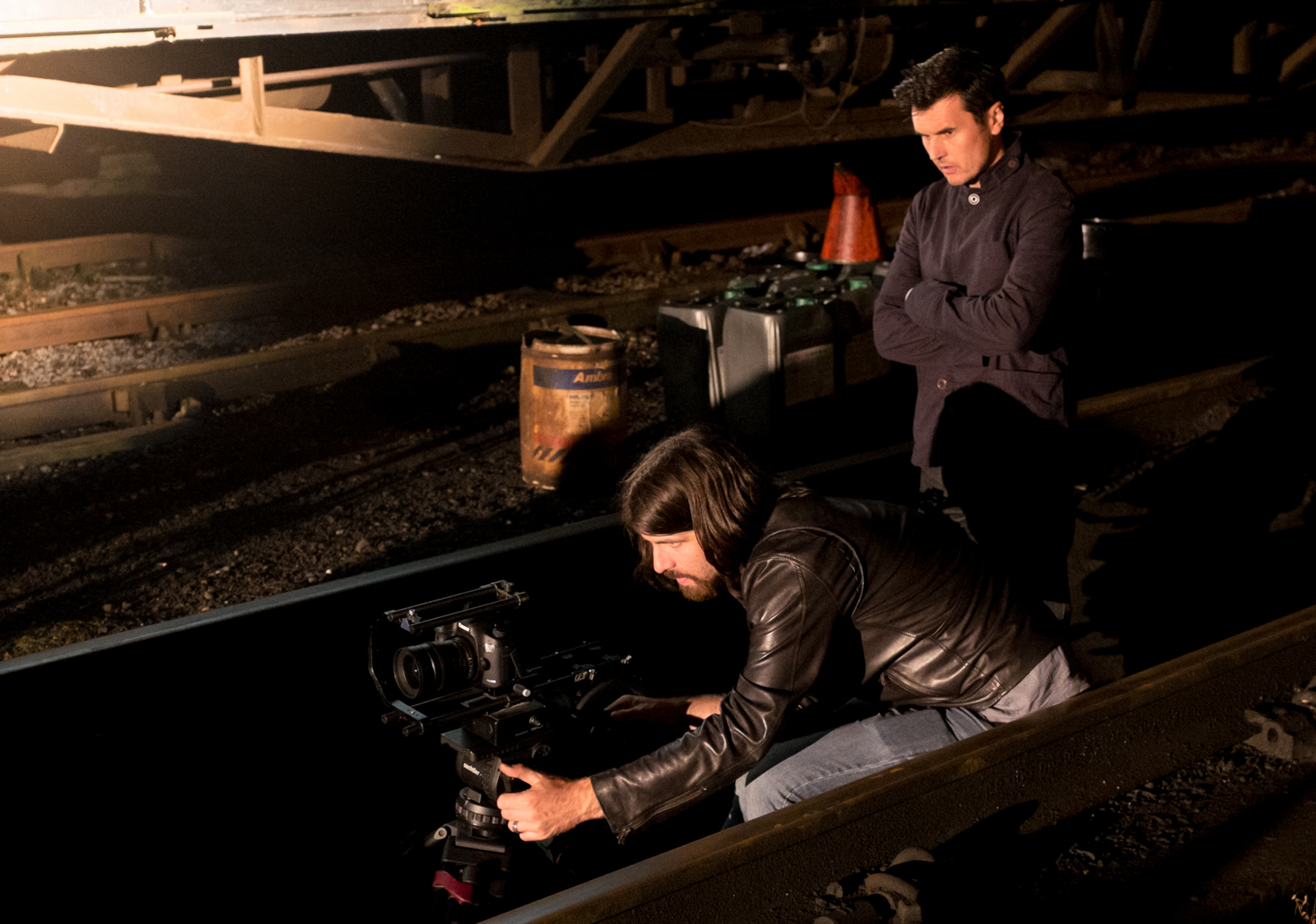 Directing a promo for 'Public Service Broadcasting' with Cinematographer Andrew Rodger.