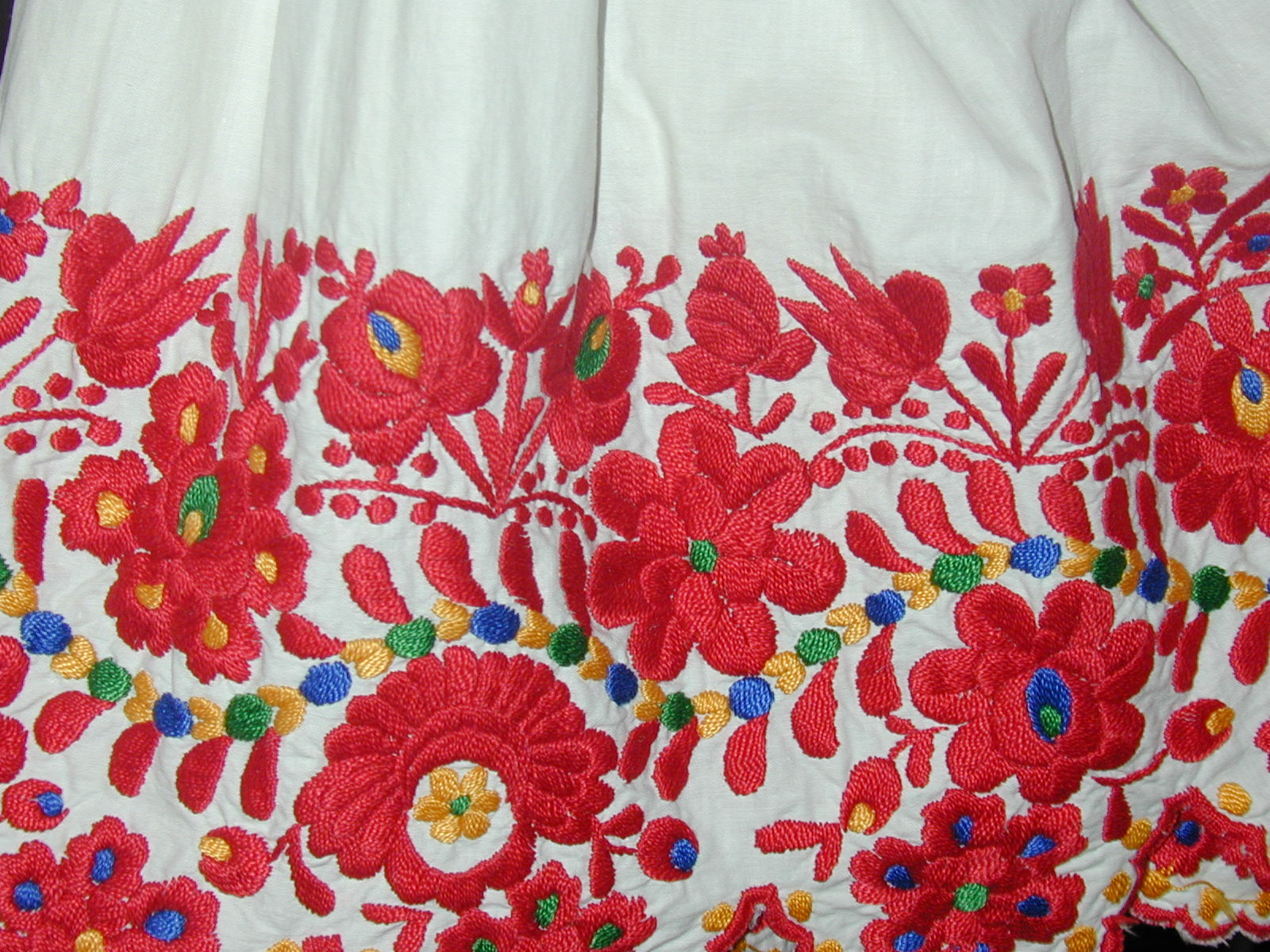 Detail of shirtsleeve with Matyo embroidery
