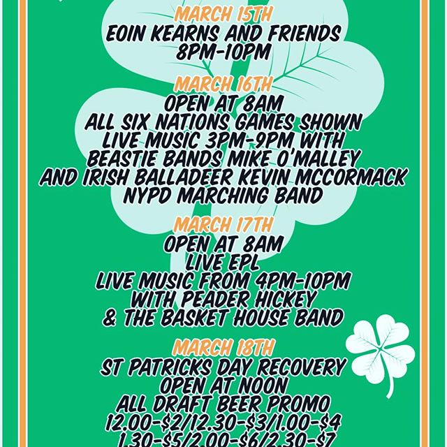 It's almost time... We got you covered. Celebrations start this Friday, and finishes 4 days later with our Recovery Monday. 🍻 🥃 🇮🇪 #stpatricksday #local #livemusic #welcomehome #whiskey
