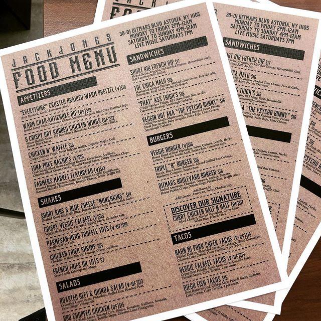 New Food Menu Starting Tonight @jackjonesastoria ! #queensfoodies #queensfood #veganfood #glutenfree #newmenu