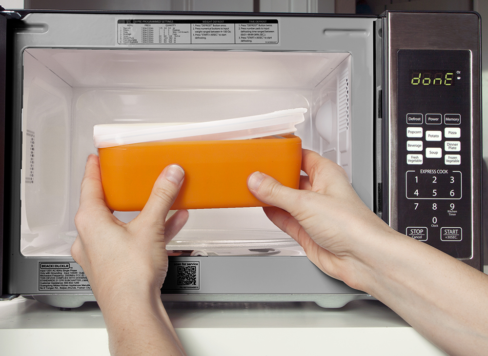 The silicon sleeve over the glass makes all Frego products microwave safe.