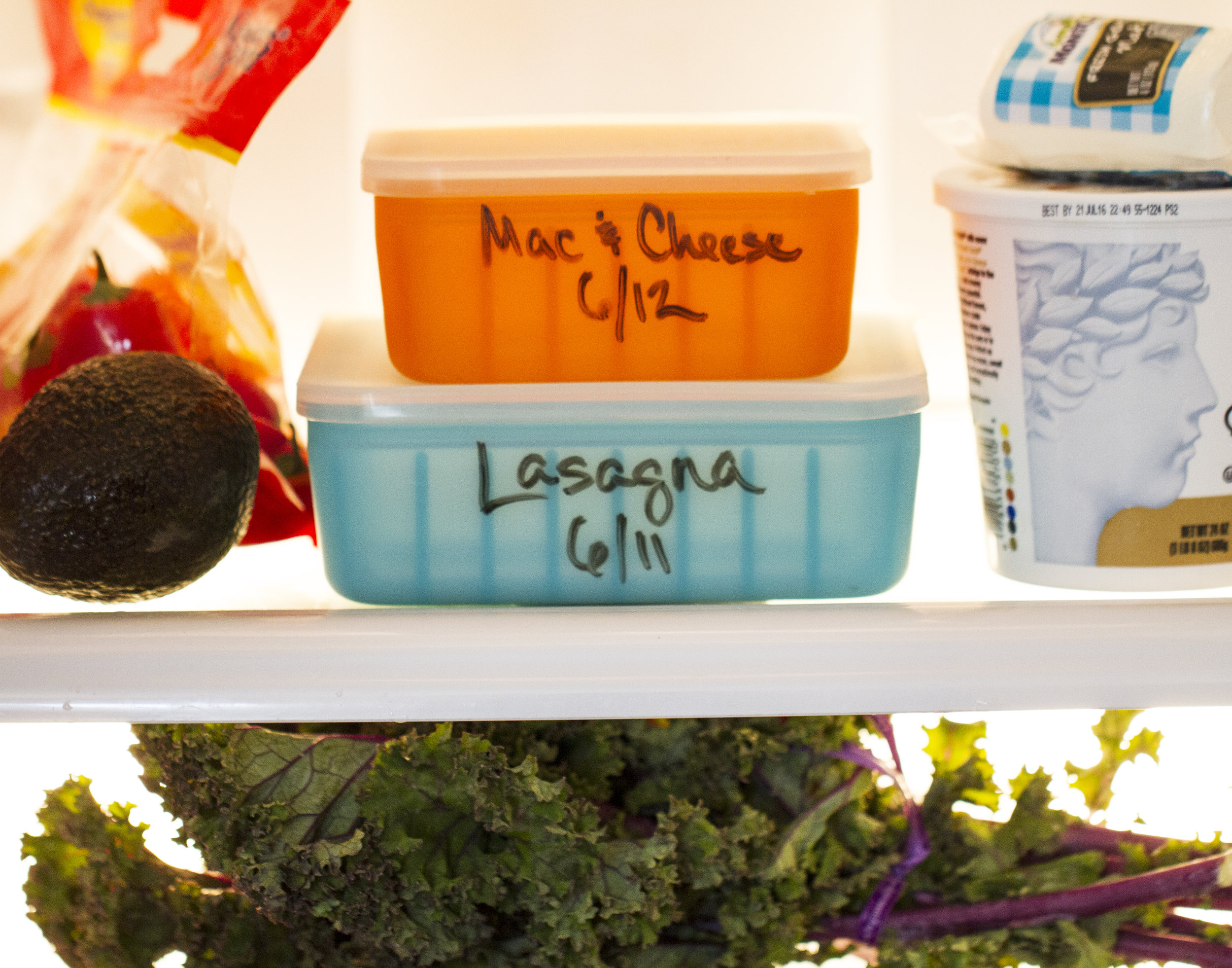 Write on Frego food storage, label content