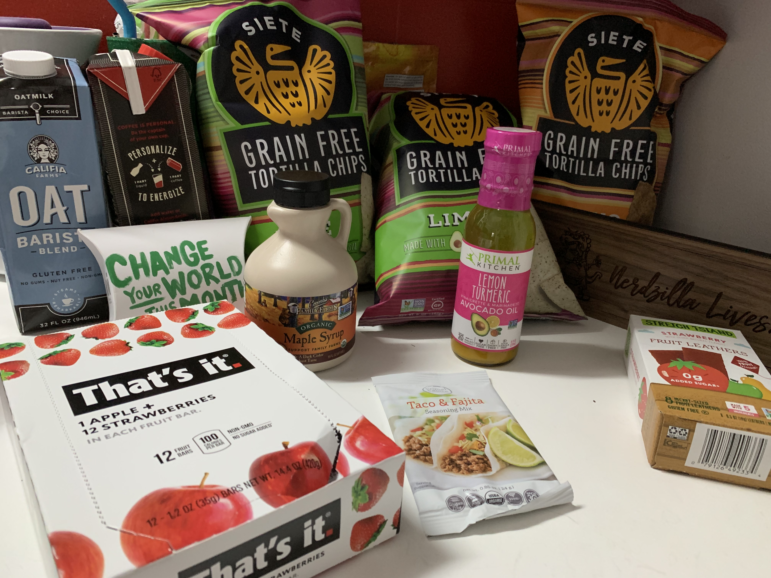 Just a few of the things I received in my most recent Thrive Market order: Gluten free, corn free, all organic, non-GMO products, including a salad dressing, some seasoning mix, and a free sample of non-toxic feminine hygiene products!