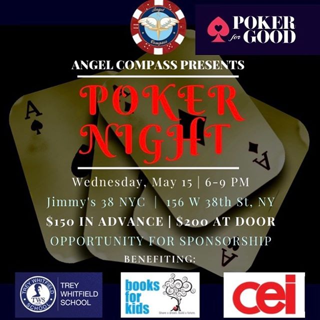 Hi Poker Friends, I am sponsoring a poker charity event next Wed at Jimmy's 38.  80% of funds raised will go directly toward Books for Kids and other inner city Educational Organisations.  I am buying the first buyin for the first 9 pp that confirm first.  8 left.  Come play for a great cause! ❤️Make PokerforGood.org ! ❤️🌈 Click link below for details and sign up!  https://www.angelcompass.org/events/poker-night-at-jimmy-s-38 👫👬👬👬👬👬👬👬👬@poker4good #pokerforgood #booksforkids #treywhitfieldfoundation #treywhitfieldschool #educationforimpact #innercityeducation #charitypoker #charitypokertournament