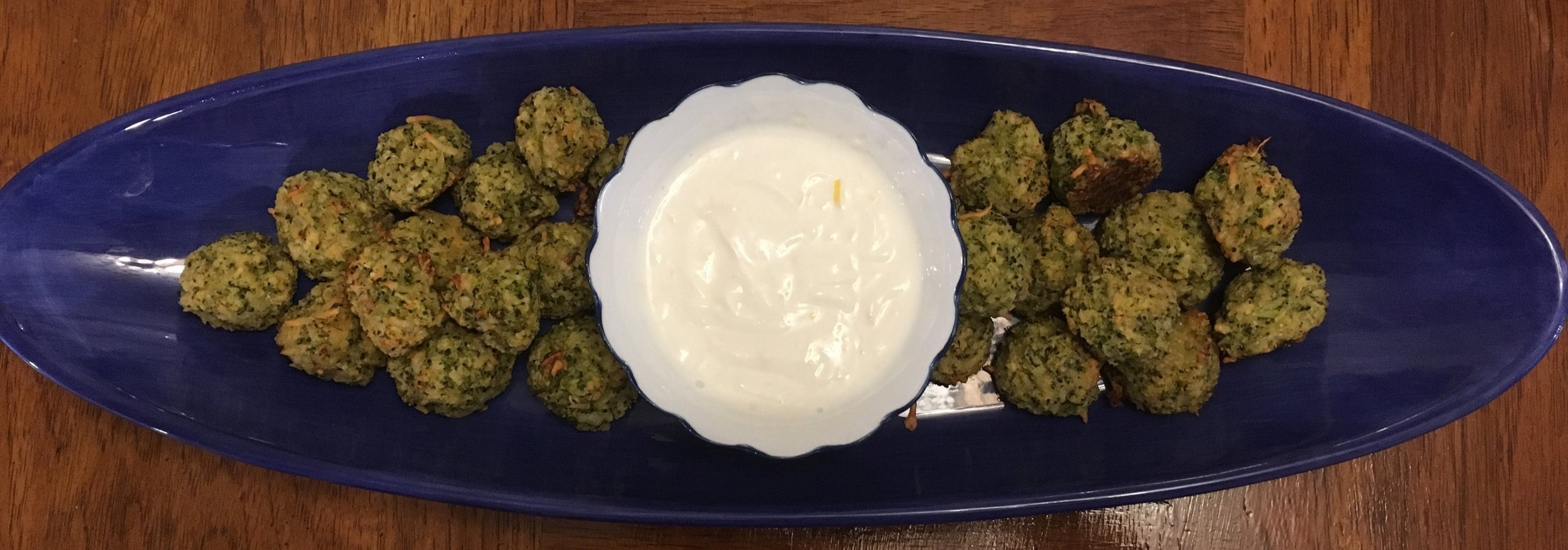 broccoli cheese balls with yogurt lemon sauce