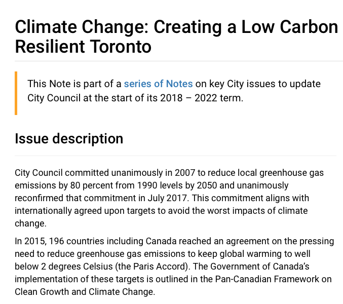 Climate Change: Creating a Low Carbon and Climate Resilient Toronto - READ MORE