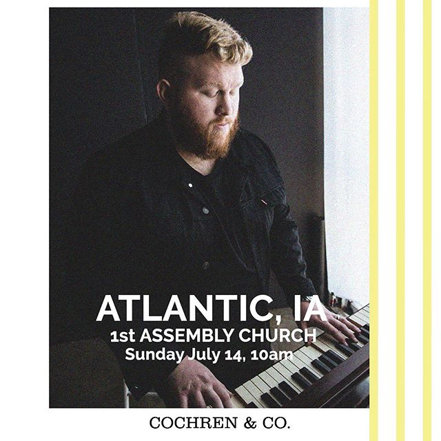 Atlantic, IA!  Coming your way tomorrow morning!  1st Assembly Church.  10am.  I'd love to see you! . . . . . #atlanticiowa #livemusic #christianmusic #cochrenandco #christiantour #churchtakemeback #churchservice