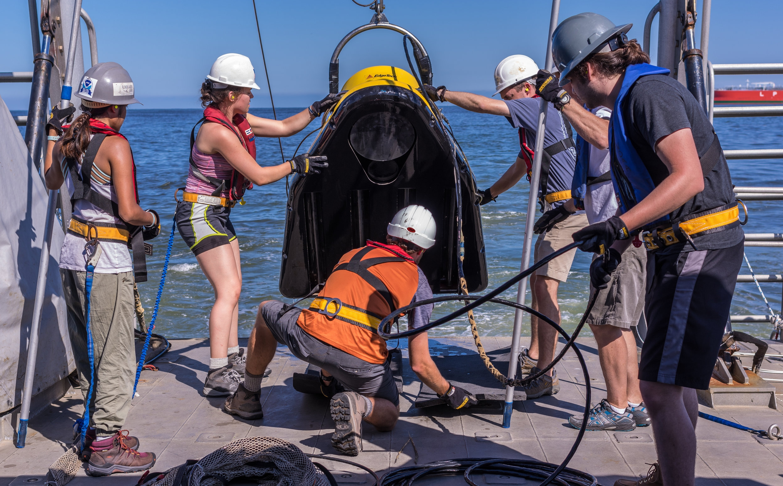 My research team deploying the CHIRP offshore of Galveston, TX