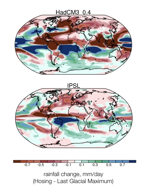 Wet (blue) and dry (red) rainfall changes (units: mm/day) for the HadCM3 [Gordon et al., 2000; Pope et al. 2000] and IPSL [Marti et al., 2010] hosing experiments. Rainfall changes are relative to the Last Glacial Maximum background state (~21 ka). Maps modified from Kageyama et al. [2013],  Clim. Past.