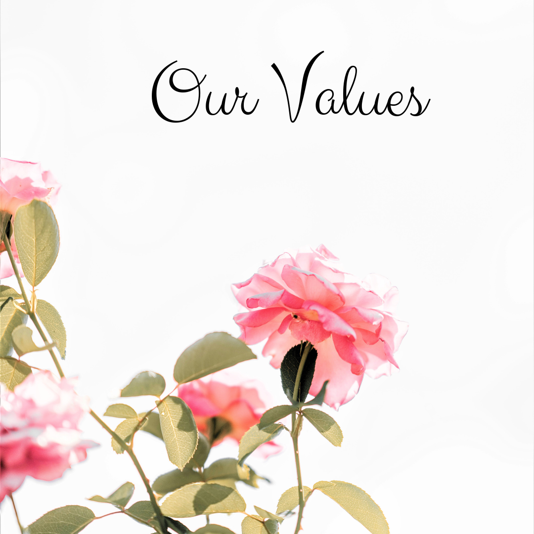 Our  Values  rest in the Love of Jesus Christ. We honor and respect every person and are patient in the journey. We understand the Lord does the convicting and changing. Our job is to provide a guide for you to discover yourself through His heart.