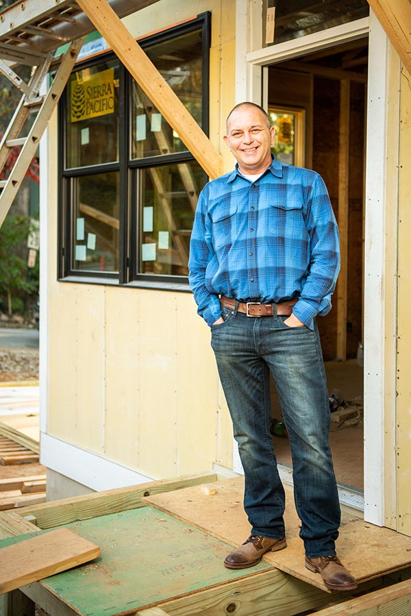 Andy Stowe, in West Asheville on a home site is currently building.