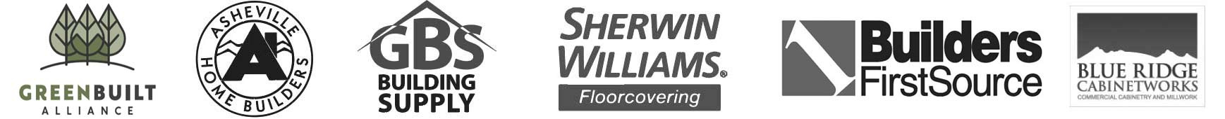 Asheville Home Builder Logos: Includes GreenBuilt Alliance, Asheville Home Builders GBS Building Supply.
