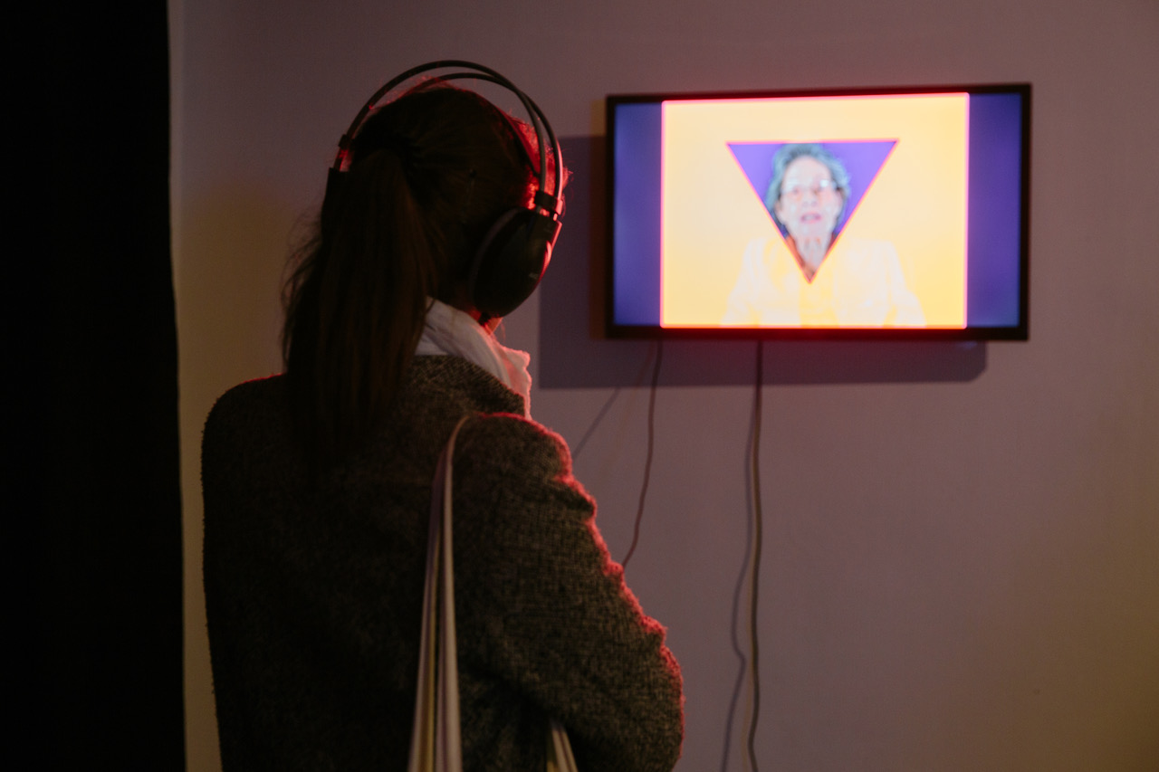 'Ducktator', Loukia Alavanou, Single-channel HD video installation with sound, 4:3 screen, 4' 30'', 2012, Commissioned by the Onassis Cultural Centre, Athens. Installation view, State of Concept, Athens, 2018. Photo by Alexandra Masmanidi