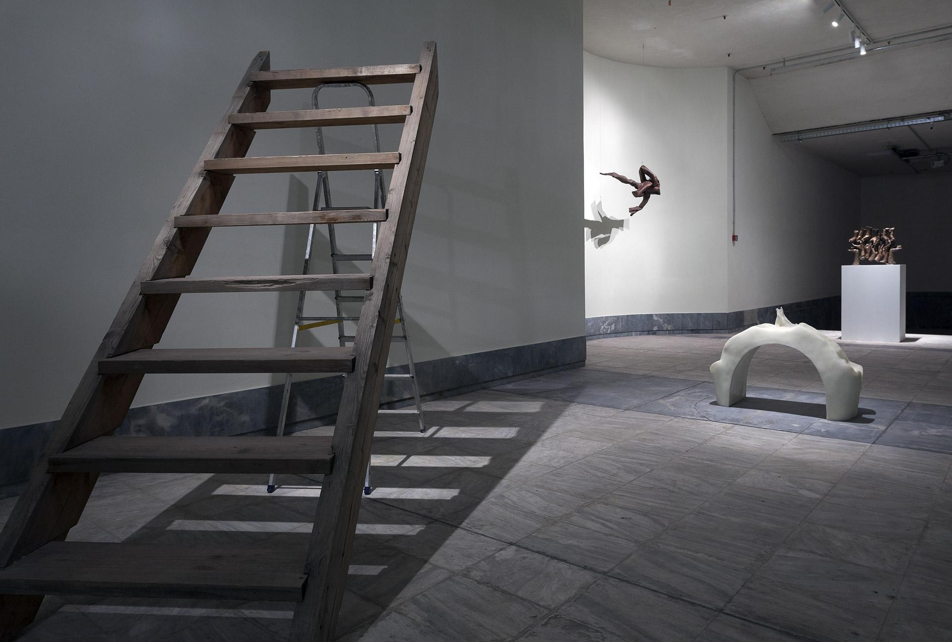 Installation view,ΣάββαςΧριστοδουλίδης,Ladders Joined Together, 2012,Asta Gröting,Space between two people having sex, 2008,Lynda Benglis,Tres, 1976,Bruce Nauman,Untitled (Hand Group),1997©Nikos Markou