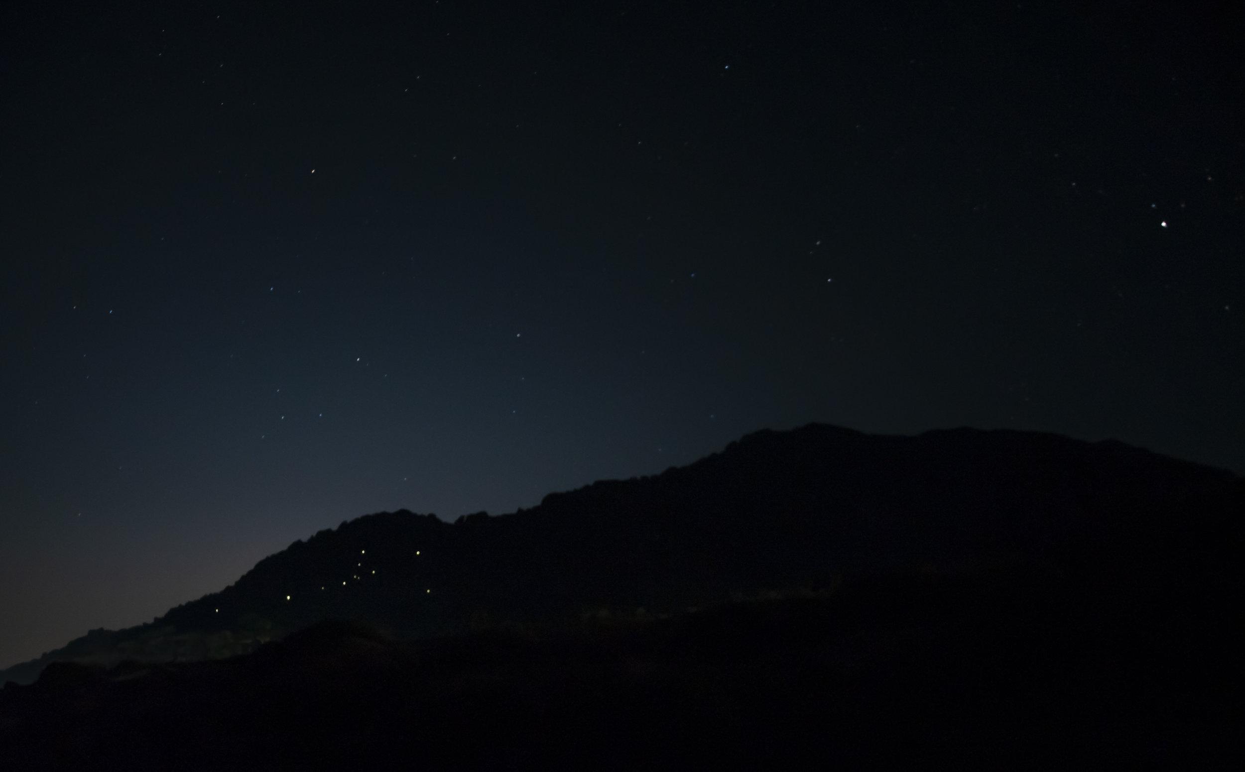 Katerina Kotsala, Stars on the Moon, Astrowalker Constellation, land art night installation, solar lights, 600mx450m Palaiopoli, Samothrace
