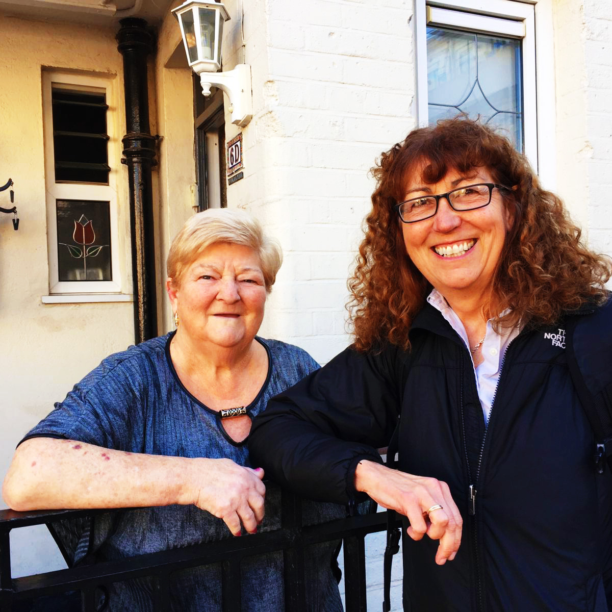 """""""when we look at these apartments, if they were given to a developer to turn around and sell as luxury apartments, it could be done, so I think we need to keep that with us and preserve some of Herbert Simm's heritage"""" - Jeanette Lowe with resident Catherine Kavanagh at pearse house"""