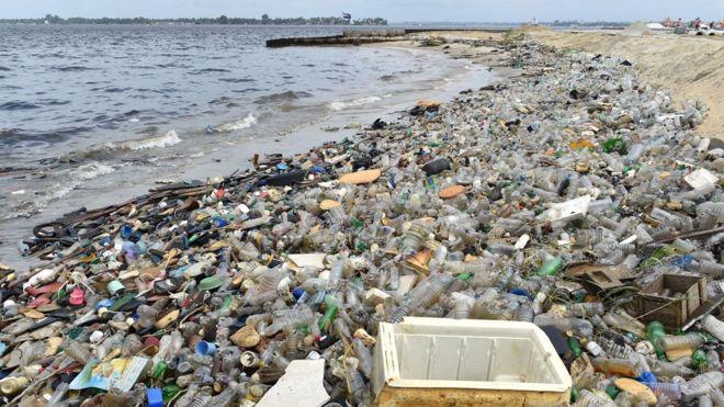 plastic waste near the ocean